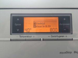Wasmachine instelling