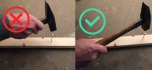 Timmeren: houd de hamer achteraan het handvat vast.