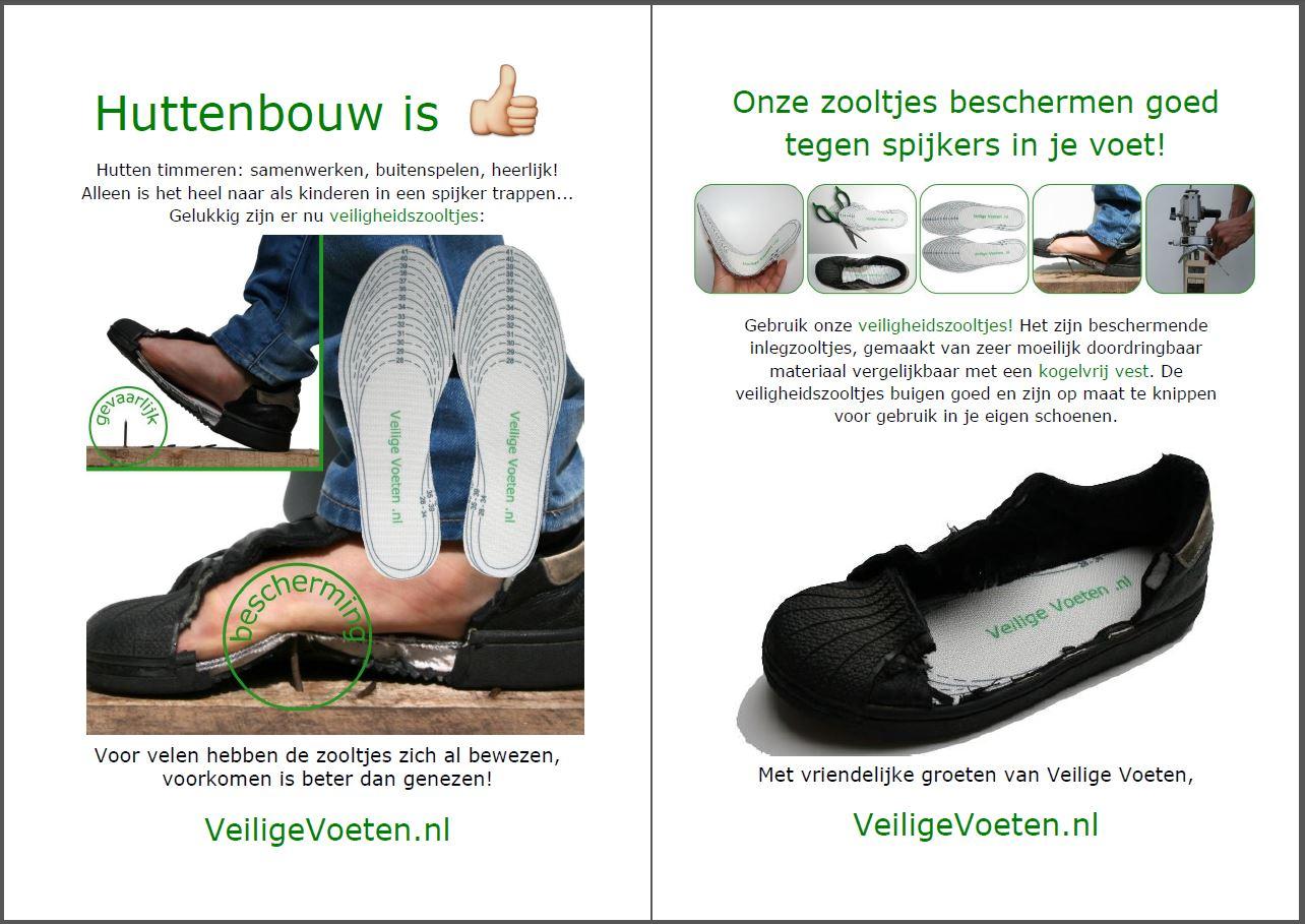 Bestel gratis de flyers van VeiligeVoeten.nl om de veiligheidszooltjes onder de aandacht te brengen!