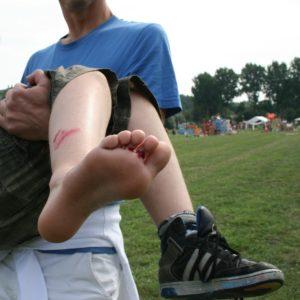 Veilige voeten: Hier is het helaas mis gegaan... volgende keer de veiligheidszolen gebruiken!