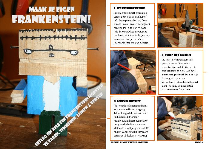 Download stappenplan om zelf een Frankenstein van hout te klussen. Klus ideeën voor kinderen!